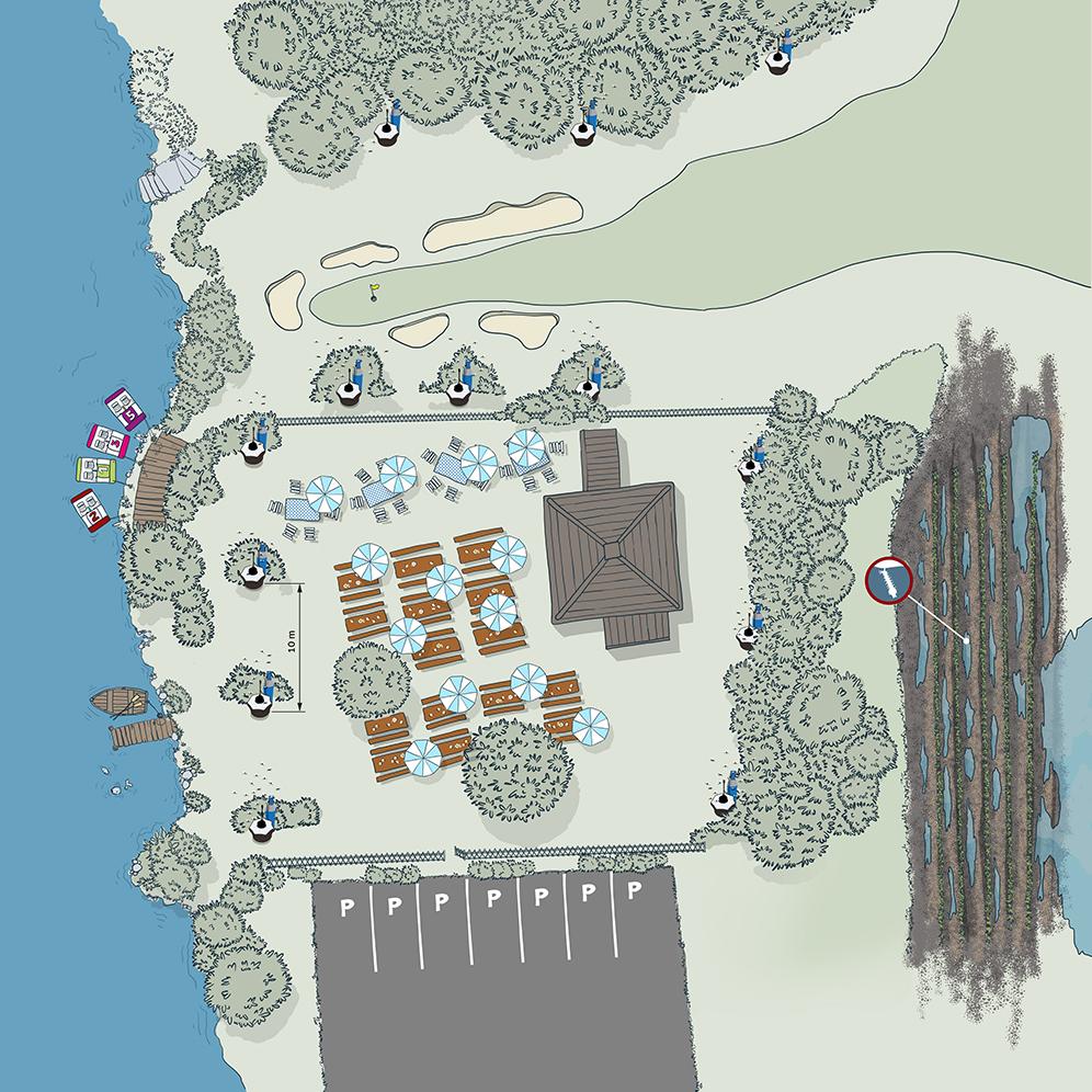 Biogents-Fallen (BG-Mosquitaire CO2) schützen einen Biergarten am See mit angrenzender Überschwemmungsfläche.