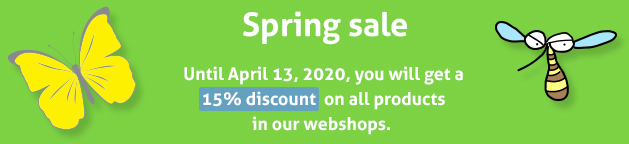 Spring sale: 15% discount on all products until April 13, 2020
