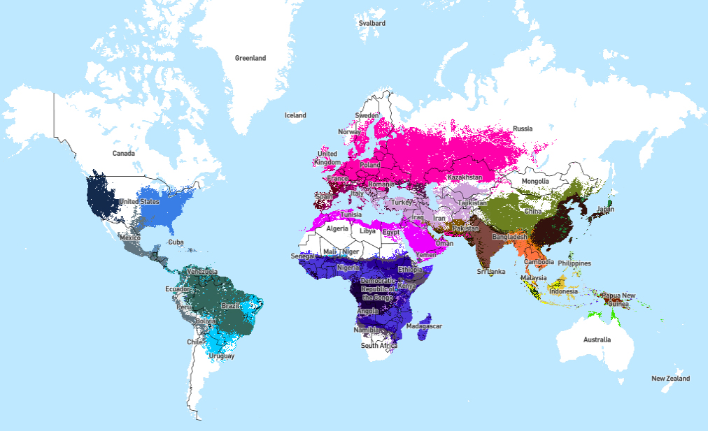 Distribution of Anopheles, source: malariaatlas.org