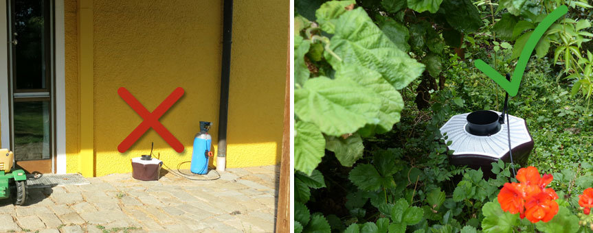 This example shows a bad and a good positioning for the mosquito traps: The bad positioning directly on the terrace in the sun, the good positiong in the shady shrubs.